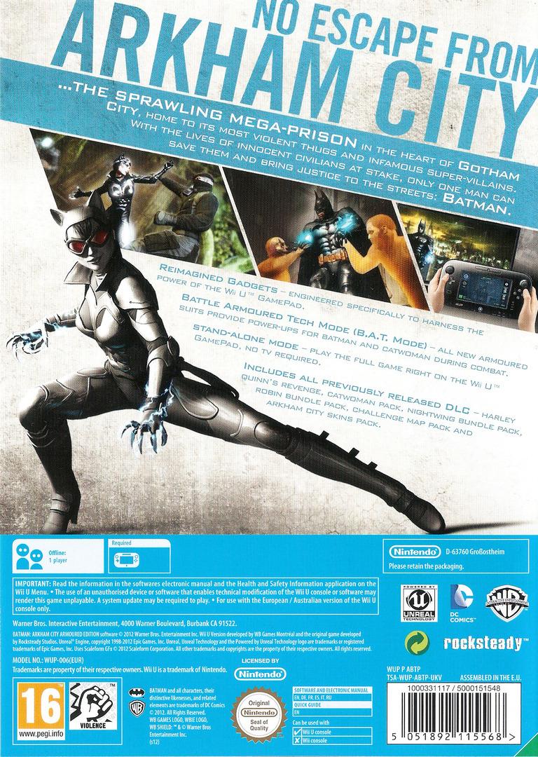 Batman Arkham City: Armoured Edition WiiU backHQ (ABTPWR)
