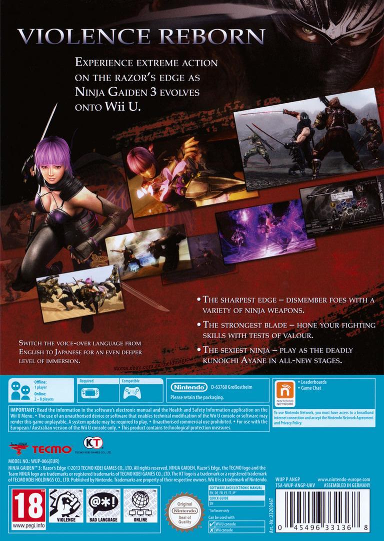 Ninja Gaiden 3: Razor's Edge WiiU backHQ (ANGP01)
