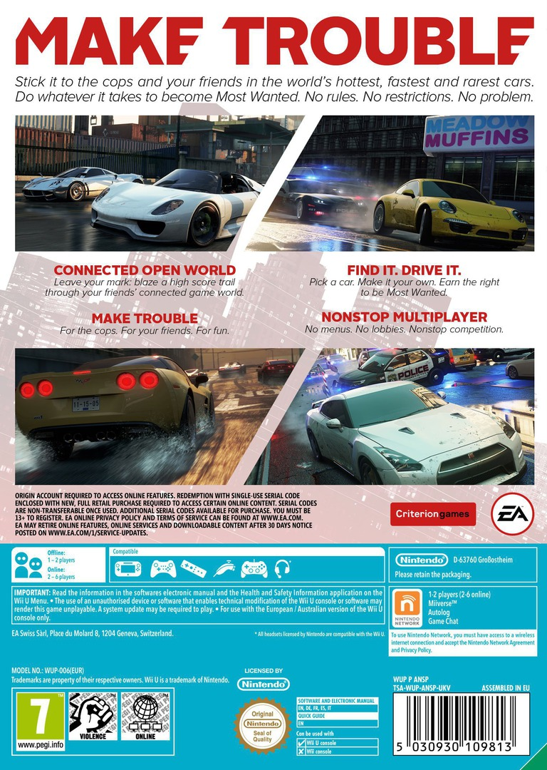 Need for Speed: Most Wanted U WiiU backHQ (ANSP69)
