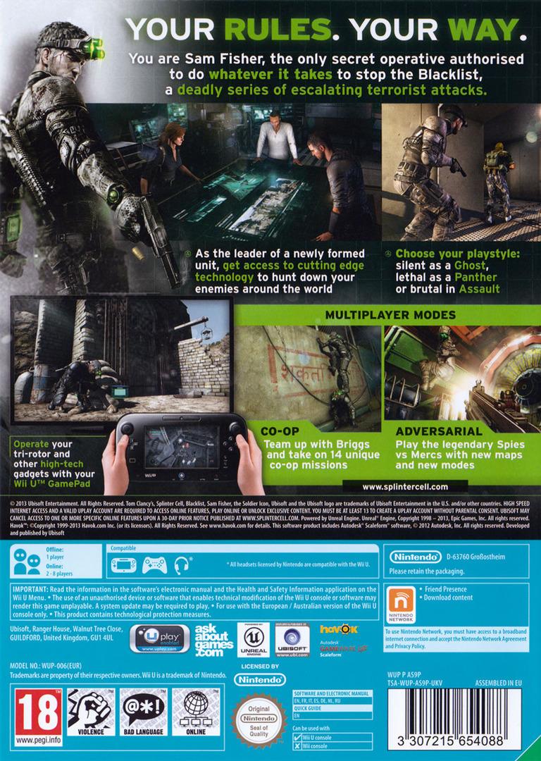 Tom Clancy's Splinter Cell Blacklist WiiU backHQ (AS9P41)