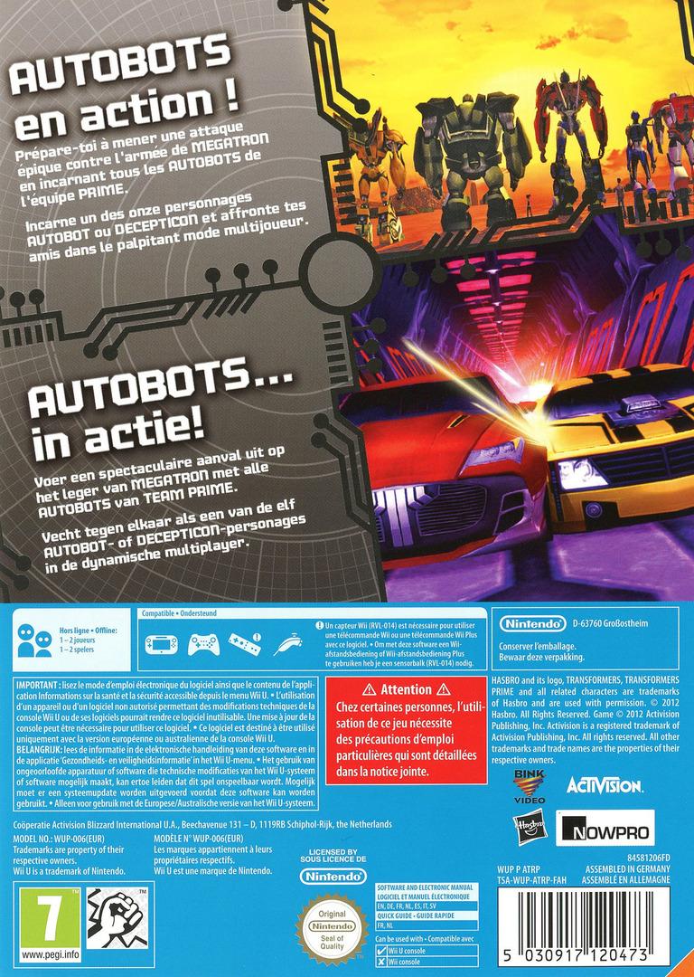Transformers Prime: The Game WiiU backHQ (ATRP52)