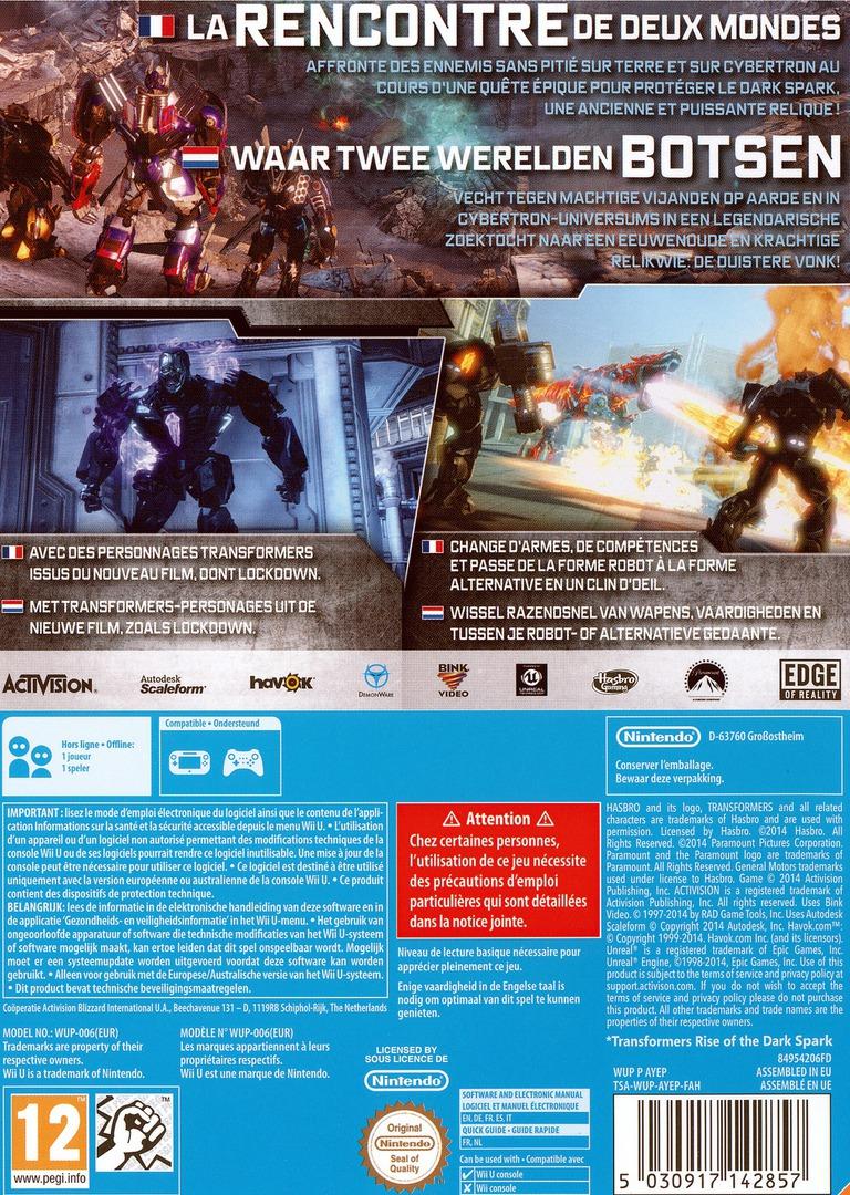 Transformers: The Dark Spark WiiU backHQ (AYEP52)
