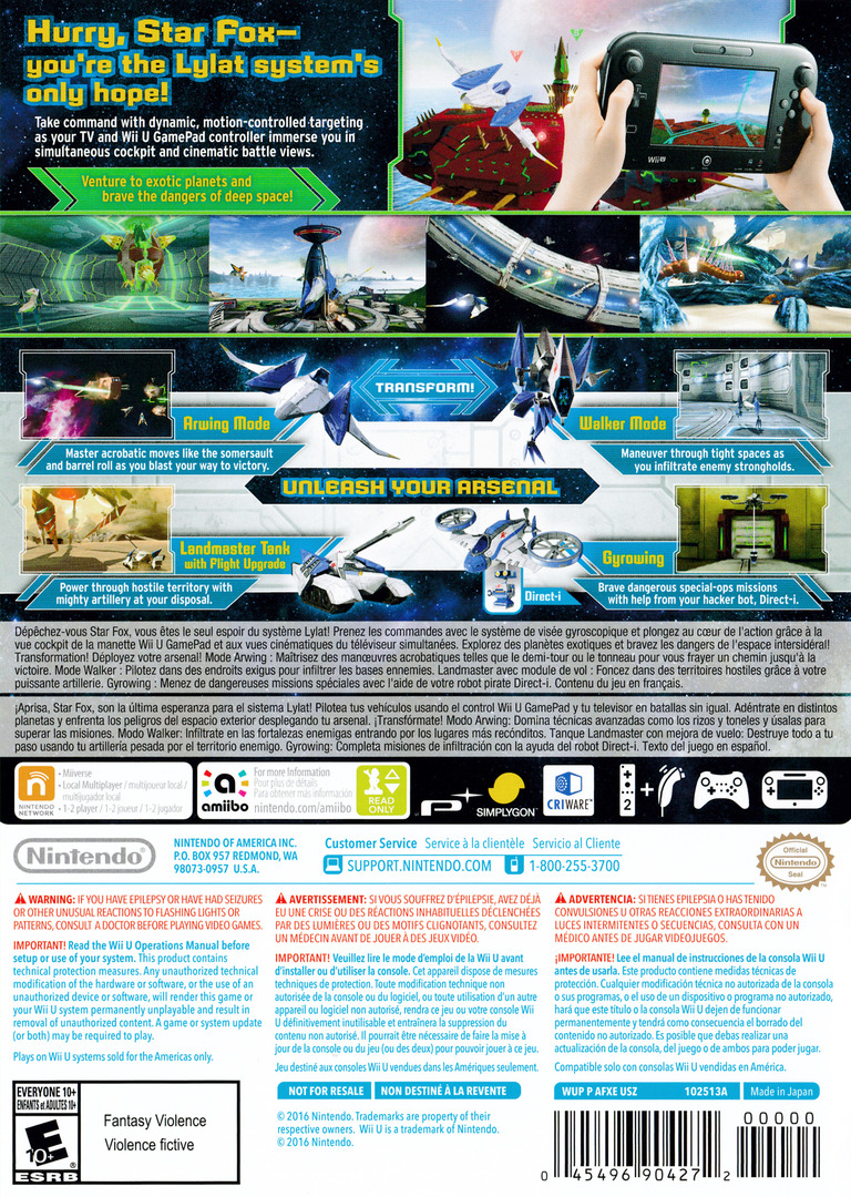 Star Fox Zero WiiU backHQ (AFXE01)