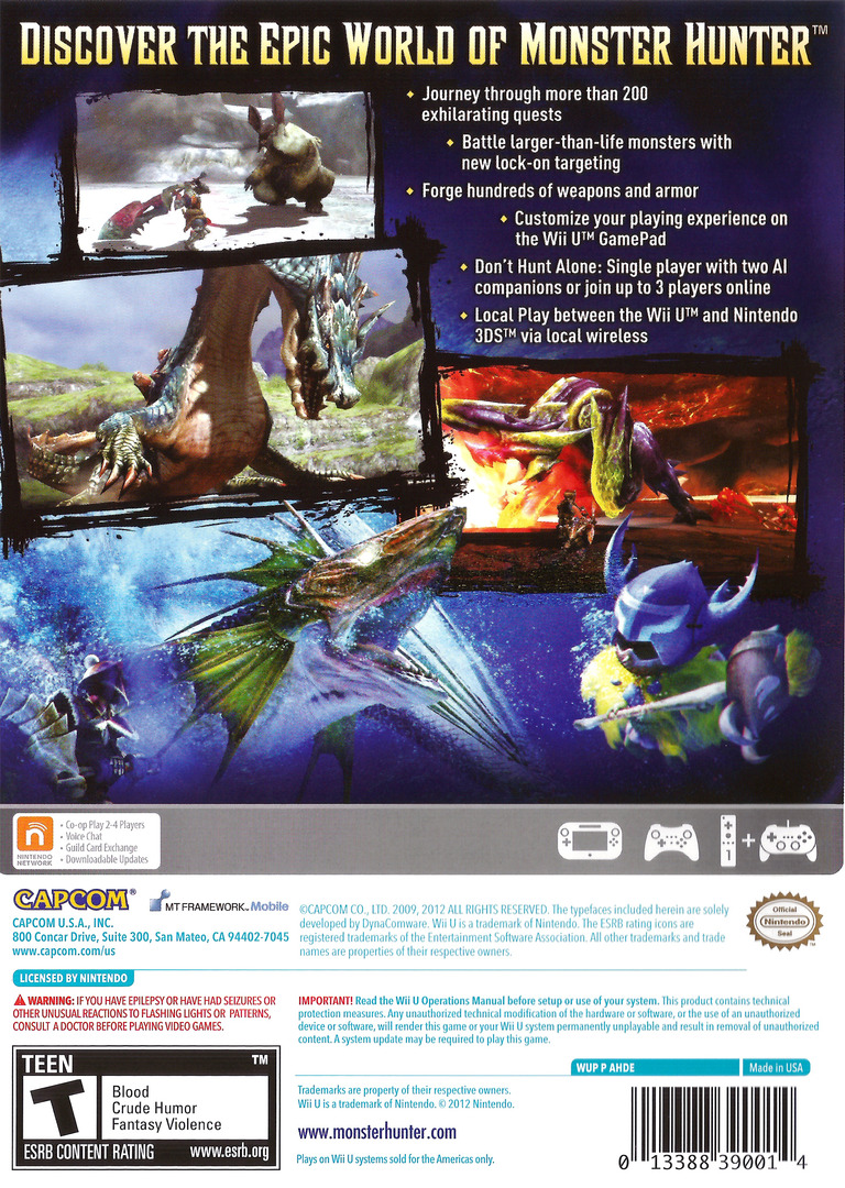 Monster Hunter 3 Ultimate WiiU backHQ (AHDE08)