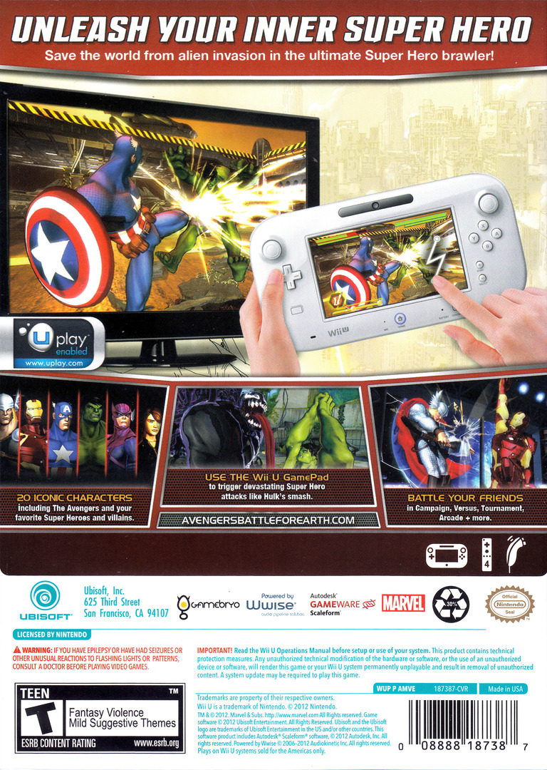 Marvel Avengers: Battle for Earth WiiU backHQ (AMVE41)