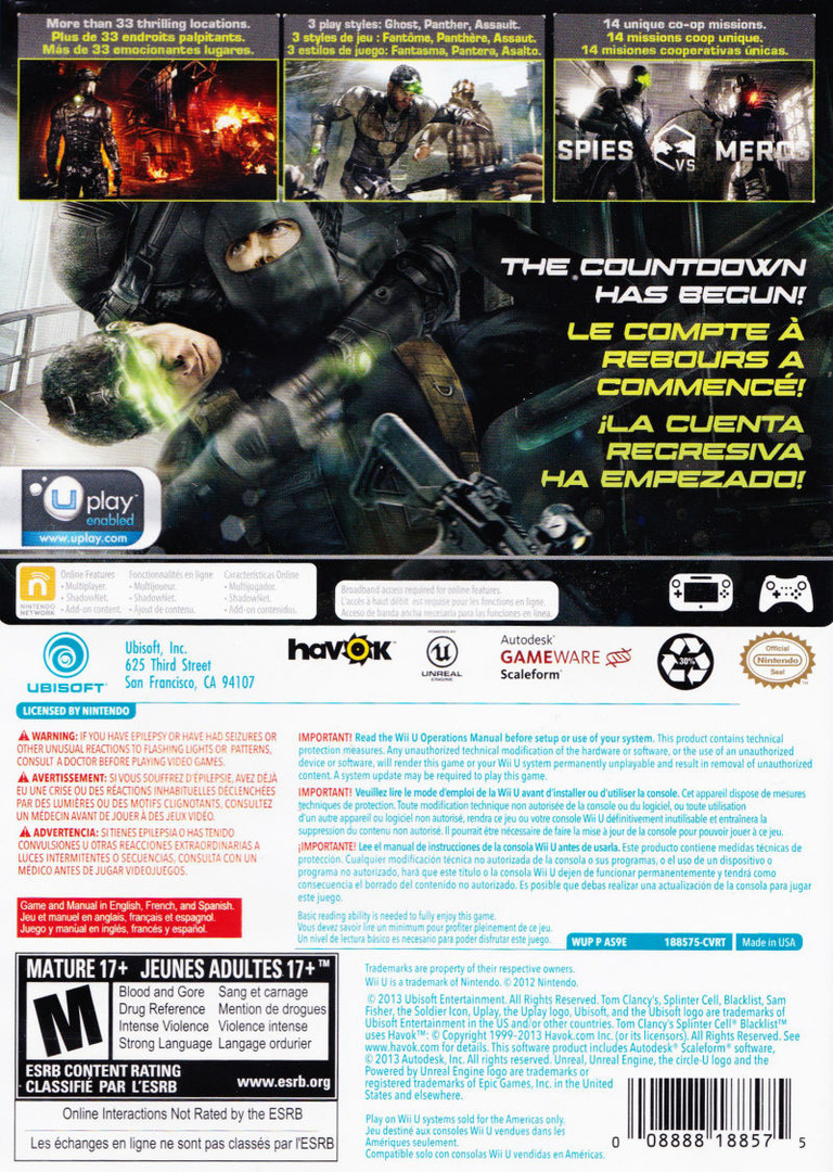 Tom Clancy's Splinter Cell Blacklist WiiU backHQ (AS9E41)