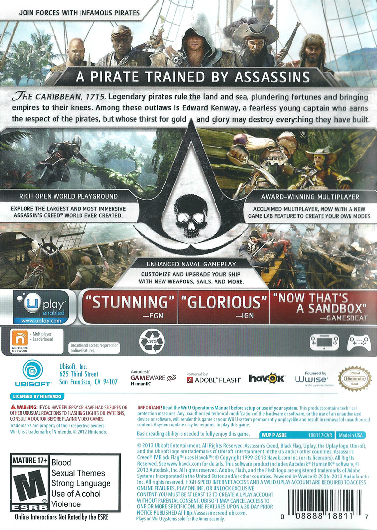 Assassin's Creed IV: Black Flag WiiU backHQ (ASBE41)