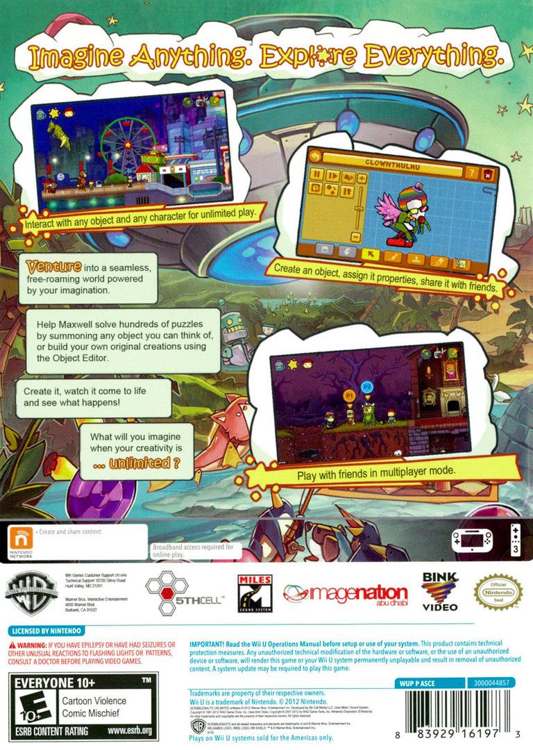 Scribblenauts Unlimited WiiU backHQ (ASCEWR)