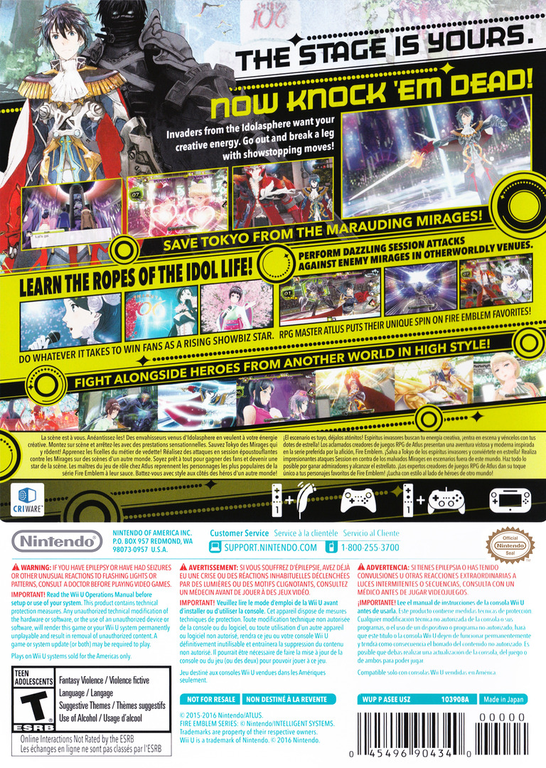 Tokyo Mirage Sessions #FE WiiU backHQ (ASEE01)