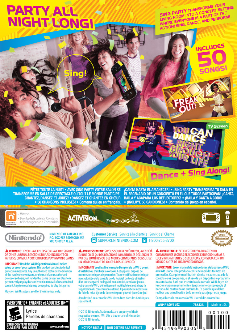 SiNG Party WiiU backHQ (ASWE01)