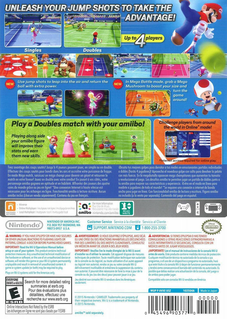 Mario Tennis: Ultra Smash WiiU backHQ (AVXE01)