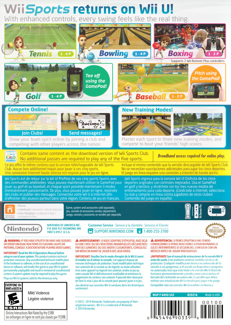 Wii Sports Club WiiU backHQ (AWSE01)