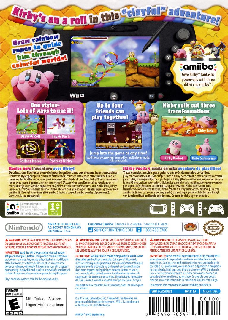 Kirby and the Rainbow Curse WiiU backHQ (AXYE01)