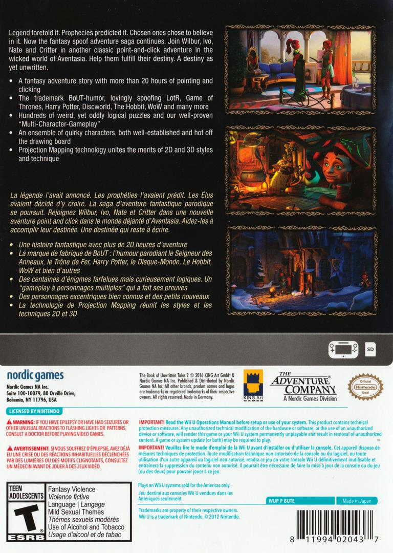 The Book of Unwritten Tales 2 WiiU backHQ (BUTE6V)