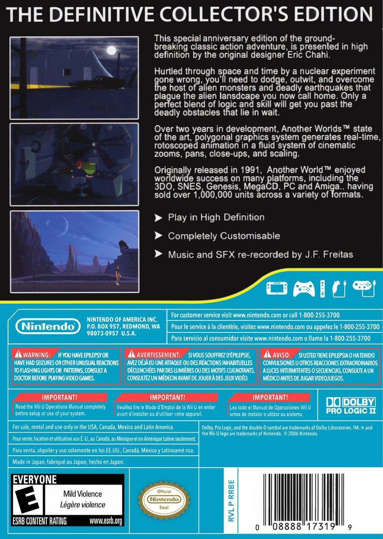 Another World: 20th Anniversary Edition WiiU backHQ (WEUE)