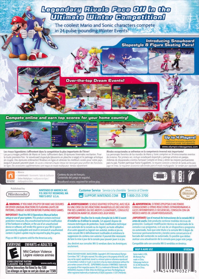 Mario & Sonic at the Sochi 2014 Olympic Winter Games WiiU backHQ2 (AURE01)