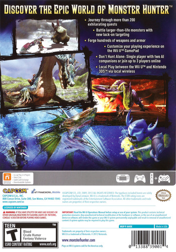 Monster Hunter 3 Ultimate WiiU backM (AHDE08)