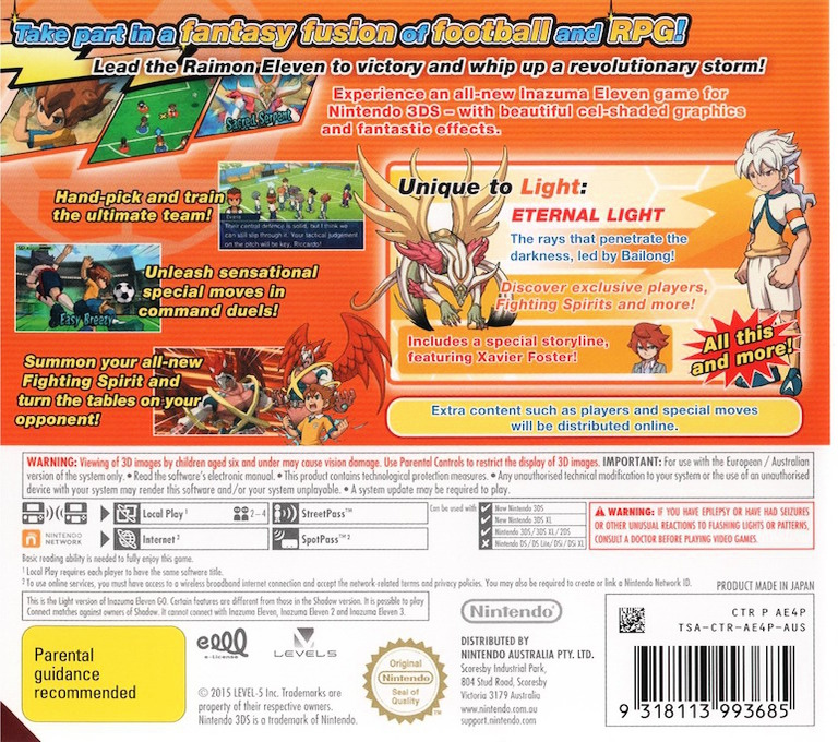 Inazuma Eleven Go - Light 3DS backHQ (AE4P)