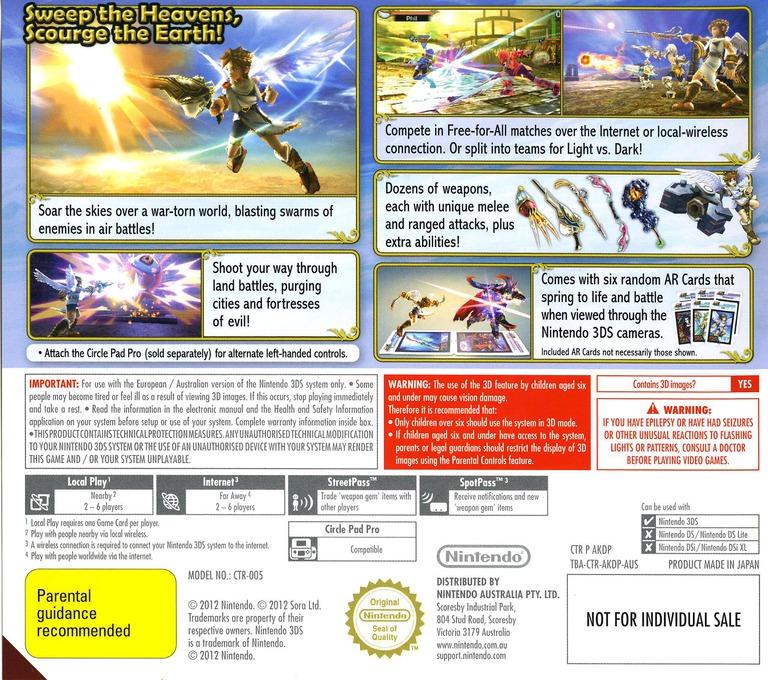 Kid Icarus - Uprising 3DS backHQ (AKDP)