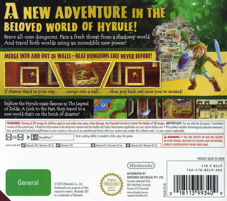 The Legend of Zelda - A Link Between Worlds 3DS backHQ (BZLP)