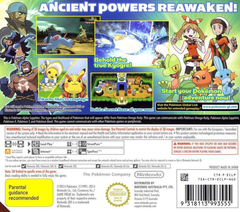 Pokémon Alpha Sapphire 3DS backHQ (ECLP)
