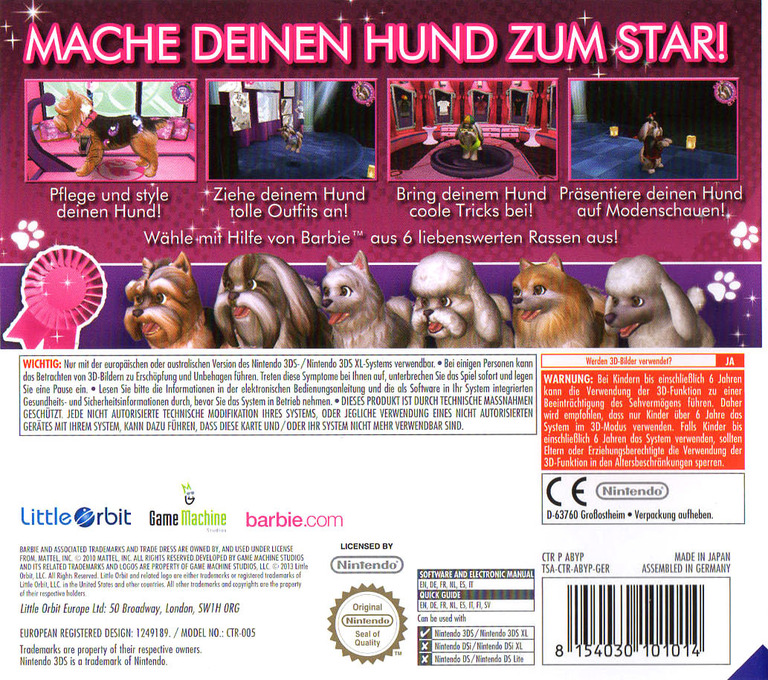 Barbie - Fun & Fashion Dogs 3DS backHQ (ABYP)