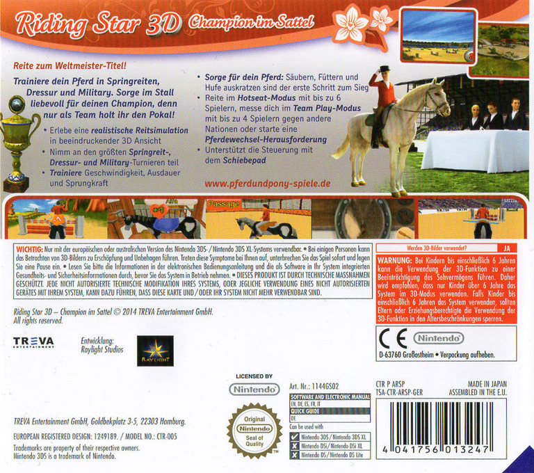 Riding Star 3D - Champion im Sattel 3DS backHQ (ARSP)