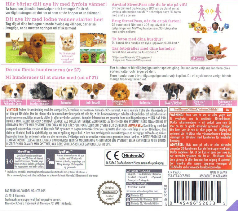 Nintendogs + Cats - Puddel & Nye venner 3DS backHQ (ADCP)