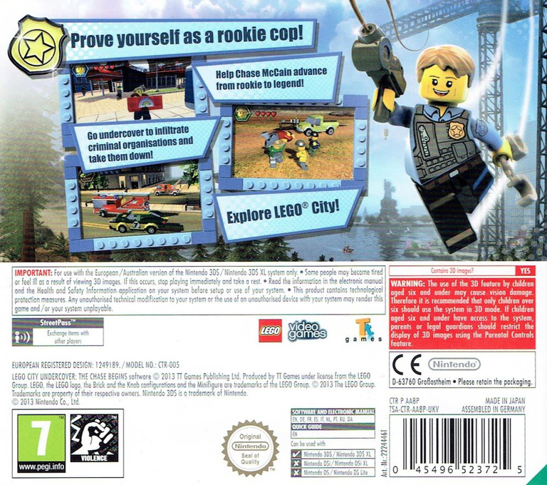 LEGO City Undercover - The Chase Begins 3DS backHQ (AA8P)