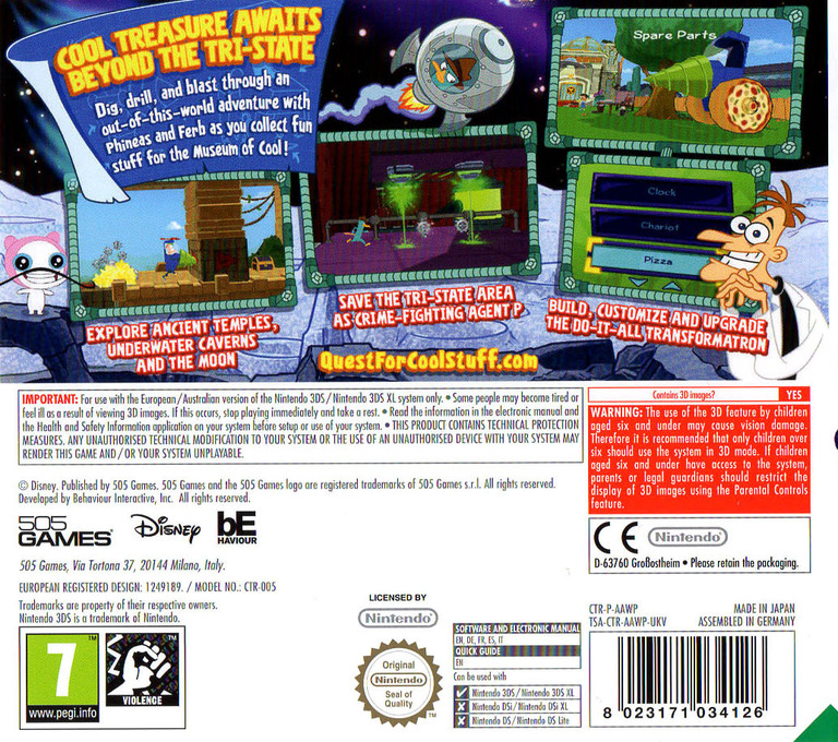 Phineas and Ferb - Quest for Cool Stuff 3DS backHQ (AAWP)