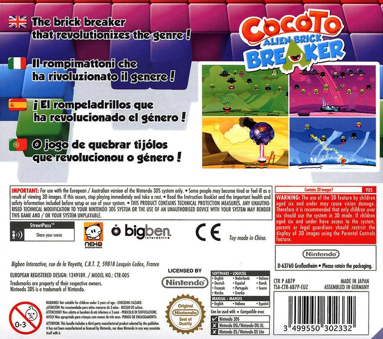 Cocoto - Alien Brick Breaker 3DS backHQ (AB7P)