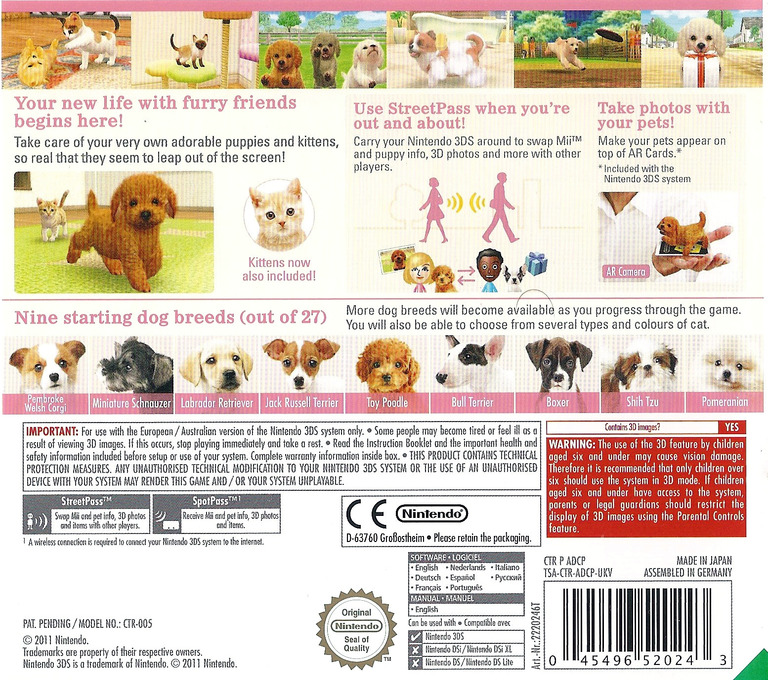 Nintendogs + Cats - Toy Poodle & New Friends 3DS backHQ (ADCP)