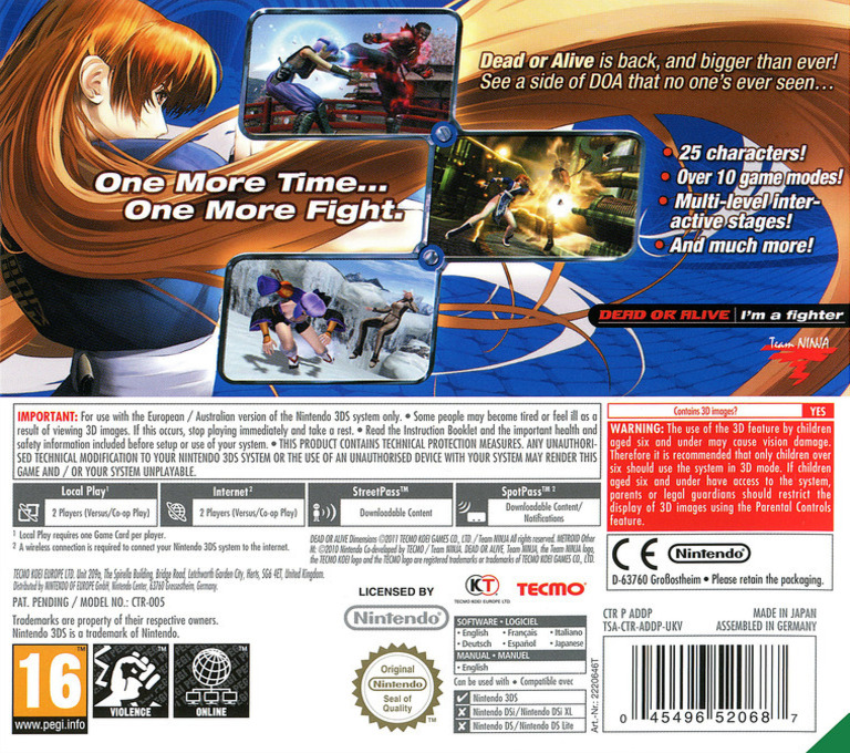 Dead or Alive - Dimensions 3DS backHQ (ADDP)