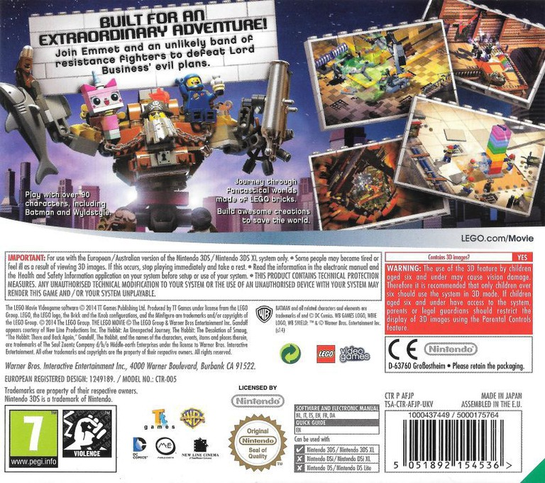 The LEGO Movie Videogame 3DS backHQ (AFJP)