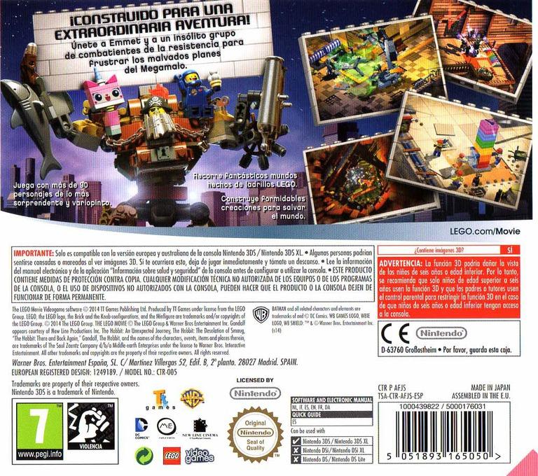 The LEGO Movie Videogame 3DS backHQ (AFJS)