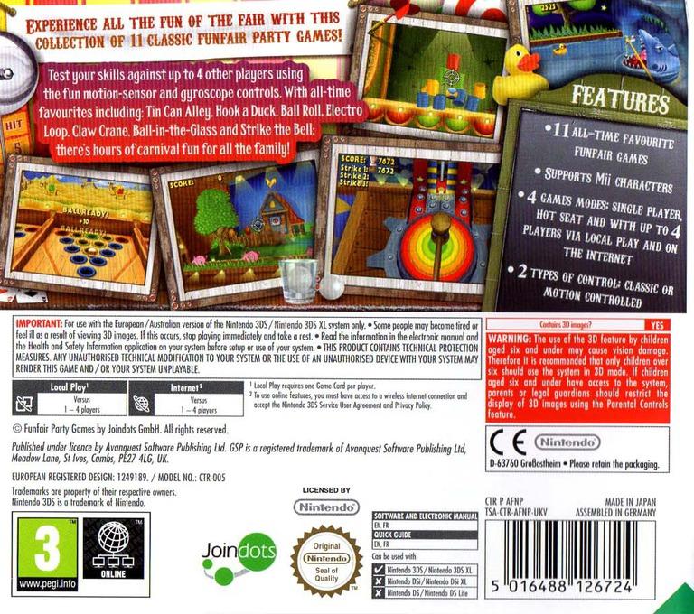 Funfair Party Games 3DS backHQ (AFNP)
