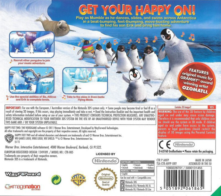 Happy Feet 2 3DS backHQ (AHFP)