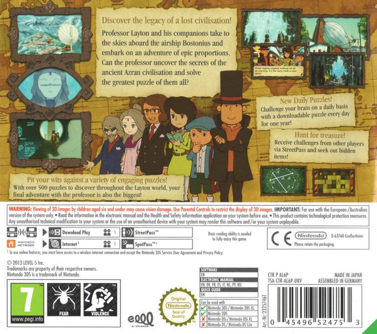 Professor Layton and the Azran Legacy 3DS backHQ (AL6P)