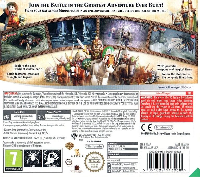 LEGO The Lord of the Rings 3DS backHQ (ALAP)