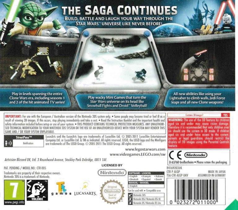 LEGO Star Wars III - The Clone Wars 3DS backHQ (ALGP)