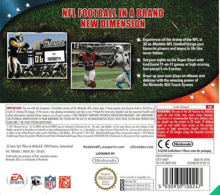 Madden NFL Football 3DS backHQ (AMDP)