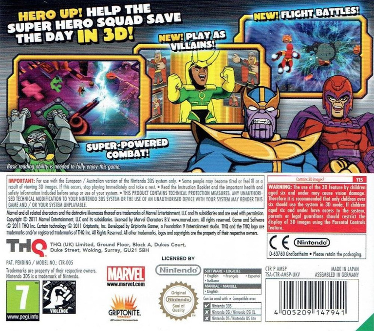 Marvel Super Hero Squad - The Infinity Gauntlet 3DS backHQ (AMSP)