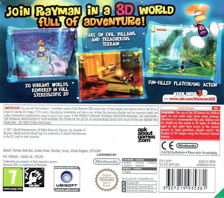 Rayman 3D 3DS backHQ (ARYP)