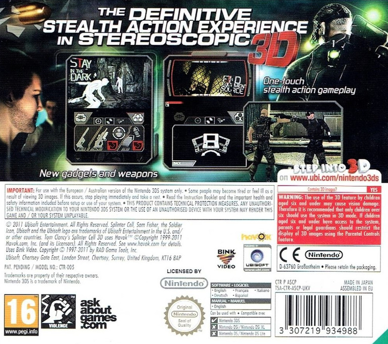Tom Clancy's Splinter Cell 3D 3DS backHQ (ASCP)