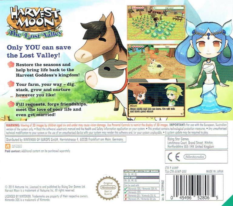 Harvest Moon 3D - The Lost Valley 3DS backHQ (AVMP)
