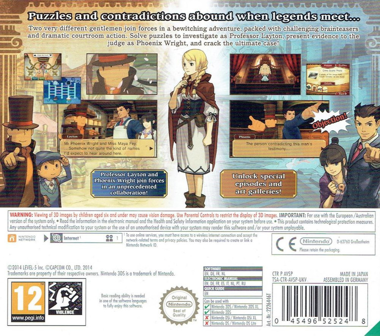 Professor Layton vs. Phoenix Wright - Ace Attorney 3DS backHQ (AVSP)