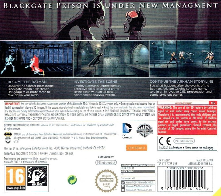 Batman - Arkham Origins Blackgate 3DS backHQ (AZEP)