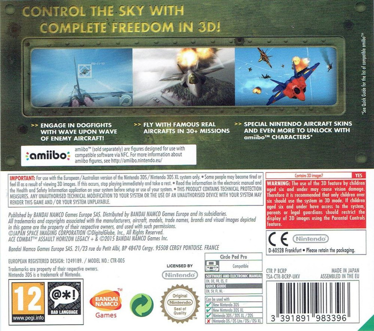 Ace Combat - Assault Horizon Legacy+ 3DS backHQ (BCRP)