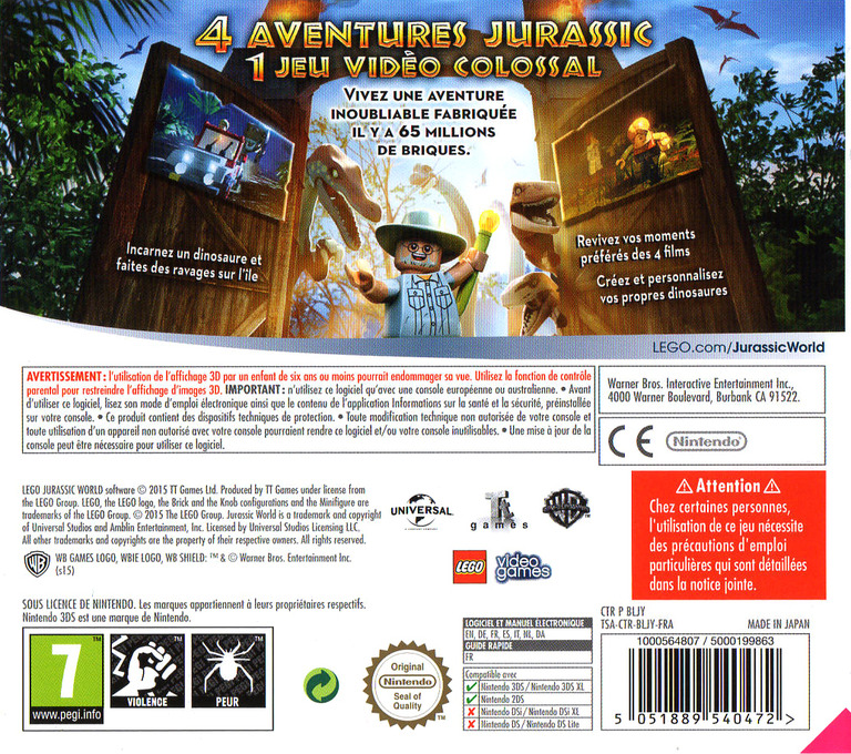LEGO Jurassic World 3DS backHQ (BLJY)