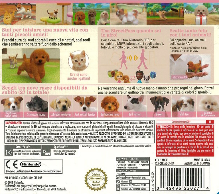 Nintendogs + Cats - Barboncino nano & Nuovi amici 3DS backHQ (ADCP)
